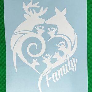Deer Family 4 Buck 2 Doe White Vinyl Decal